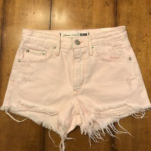 High-rise distressed shorts